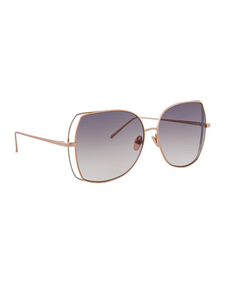 Linda Farrow Oversized Open-Inset Butterfly Sunglasses, Rose Gold
