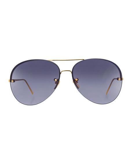 Rimless Gradient Aviator Sunglasses, Gray