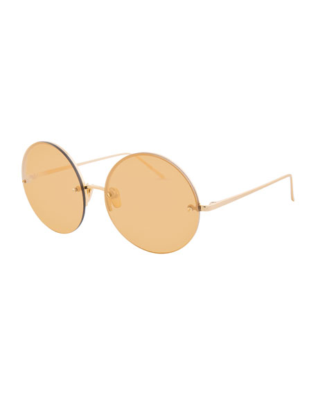 Linda Farrow Rimless Round Mirrored Sunglasses, Gold