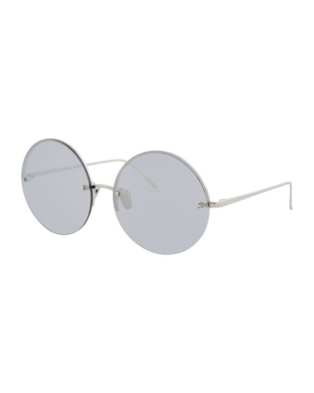 Linda Farrow Rimless Round Mirrored Sunglasses, White Gold
