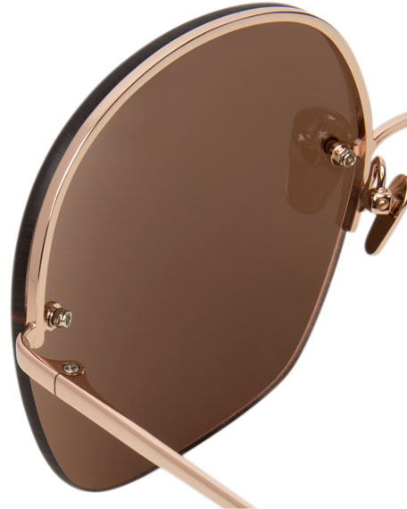 Rimless Oversized Square Sunglasses, Rose Gold