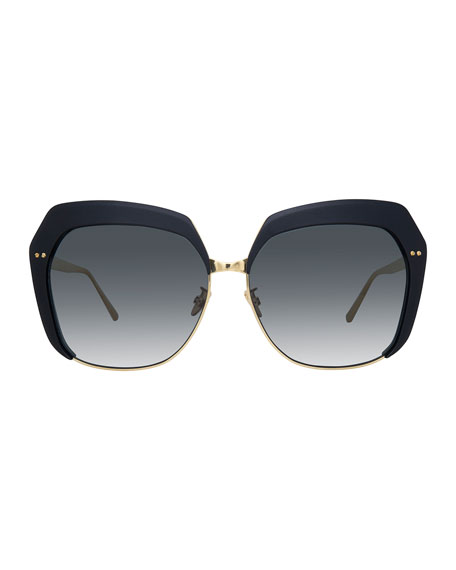 Capped Oversized Butterfly Sunglasses, Gold/Black