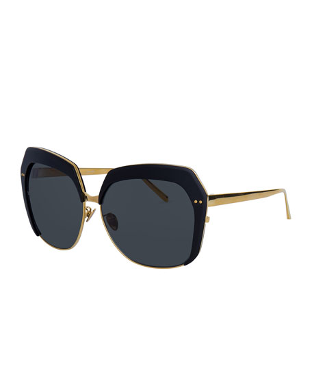 Linda Farrow Capped Oversized Butterfly Sunglasses, Gold/Black