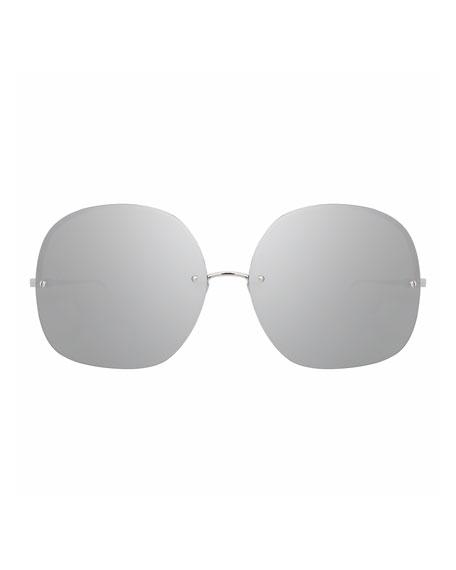 Rimless Oversized Square Sunglasses, White Gold