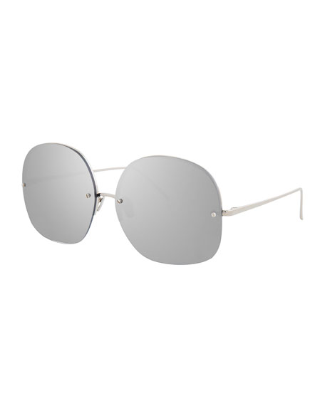 Linda Farrow Rimless Oversized Square Sunglasses, White Gold