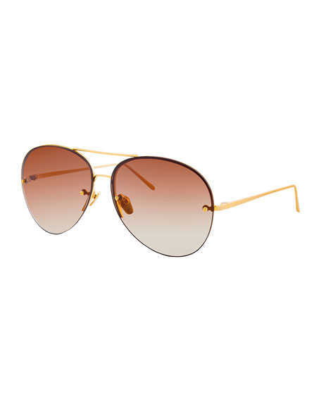 Linda Farrow Rimless Gradient Aviator Sunglasses, Brown