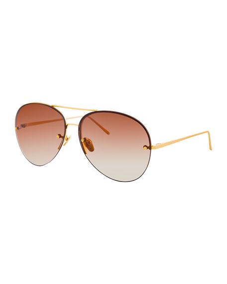 Linda Farrow Rimless Gradient Aviator Sunglasses, Brown