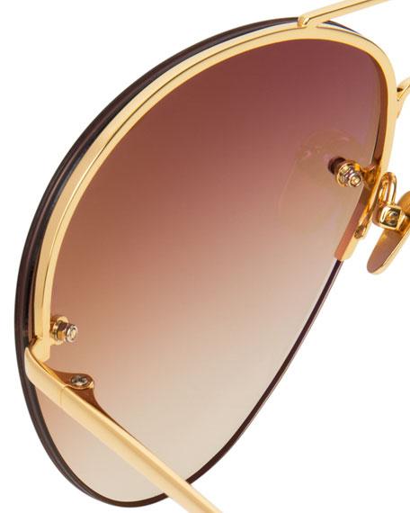 Rimless Gradient Aviator Sunglasses, Brown