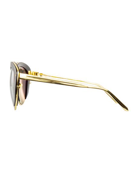 Capped Cat-Eye Sunglasses, Gold/Black