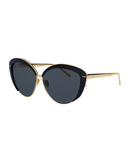Linda Farrow Capped Cat-Eye Sunglasses, Gold/Black