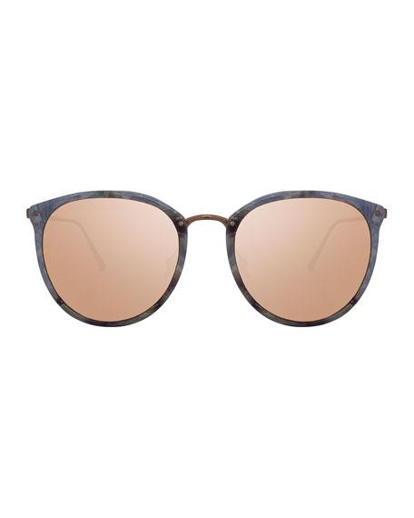 Oversized Mirrored Sunglasses, Rose Gold/White Tortoise