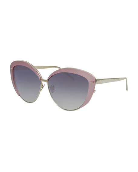 Linda Farrow Capped Cat-Eye Sunglasses, White Gold/Pink