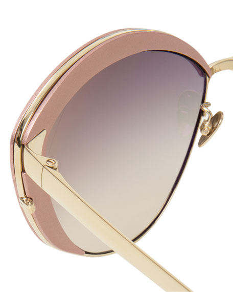 Capped Cat-Eye Sunglasses, White Gold/Pink