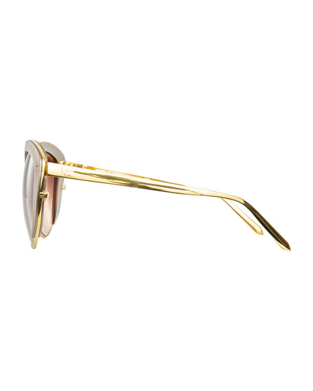 Capped Cat-Eye Sunglasses, Gold/Taupe