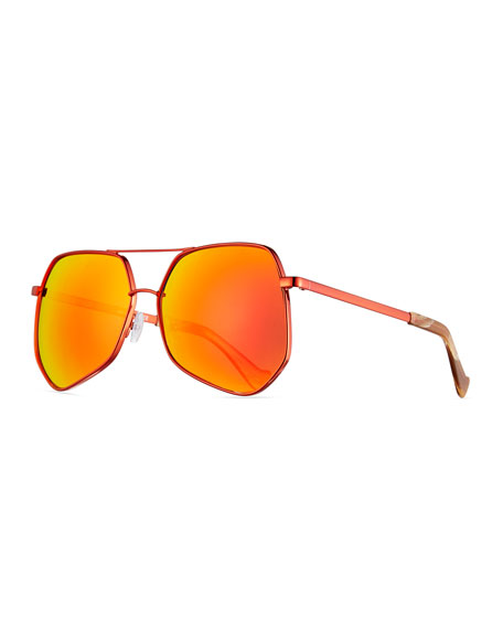 Grey Ant Megalast Geometric Aviator Sunglasses, Brown/Orange