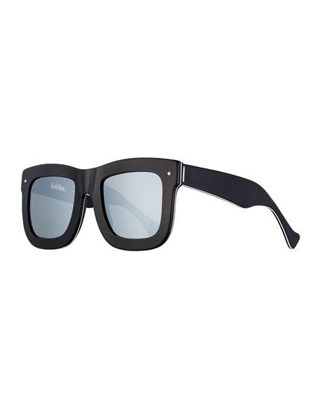 Grey Ant Status Square Mirrored Sunglasses, Black/White