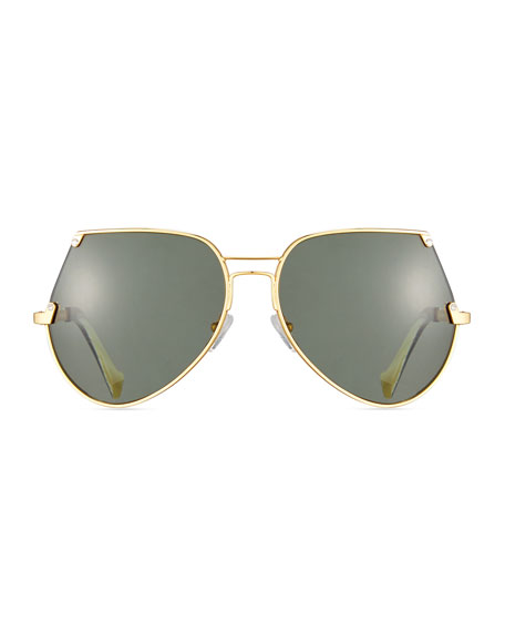 Embassy Cutoff Aviator Sunglasses, Gold/Gray