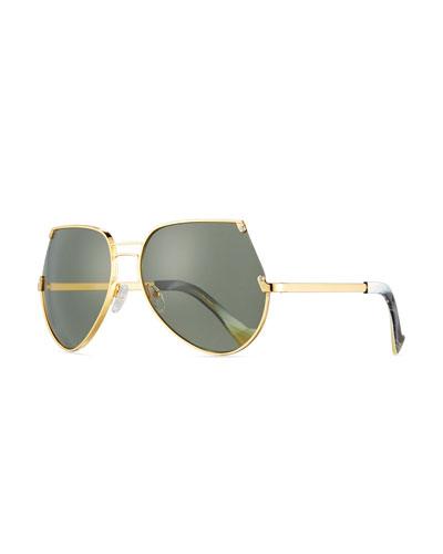 Embassy Cutoff Aviator Sunglasses, Gold/Gray