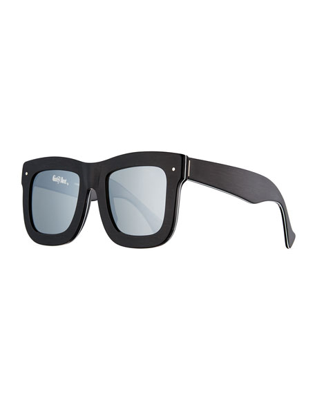 Grey Ant Status Square Mirrored Sunglasses, Brushed Black/White