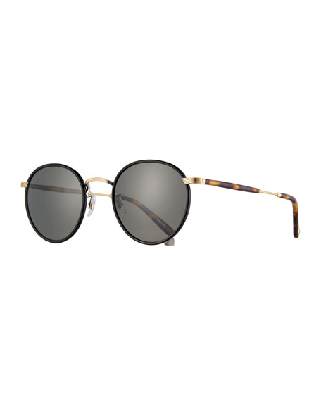 Garrett Leight Wilson Round Filigree Sunglasses, Black