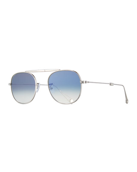 Garrett Leight Van Buren Foldable Metal Sunglasses, Silver