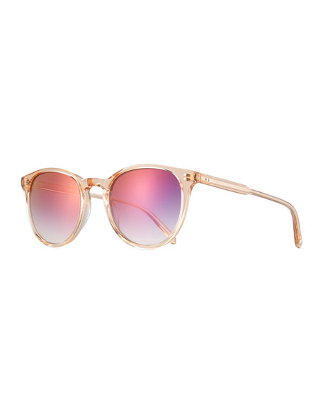 Garrett Leight Milwood Transparent Square Sunglasses, Pink