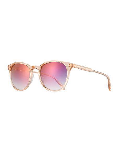 Garrett Leight Milwood Transparent Square Sunglasses, Pink