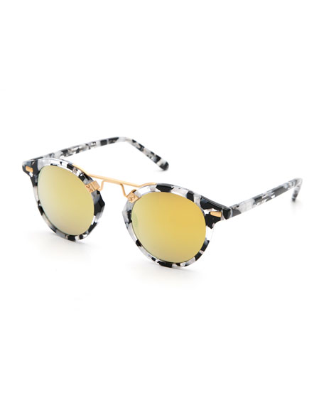 KREWE St. Louis Round Mirrored Sunglasses, White Tortoise