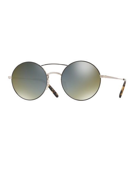Oliver Peoples Nickol Round Mirrored Sunglasses, Black