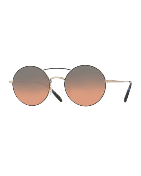 Oliver Peoples Nickol Round Mirrored Sunglasses, Blue