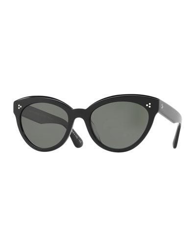 Roella Polarized Cat-Eye Sunglasses, Black