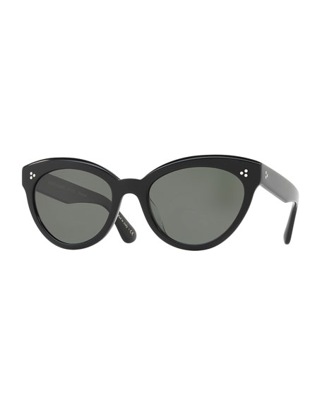 Oliver Peoples Roella Polarized Cat-Eye Sunglasses, Black