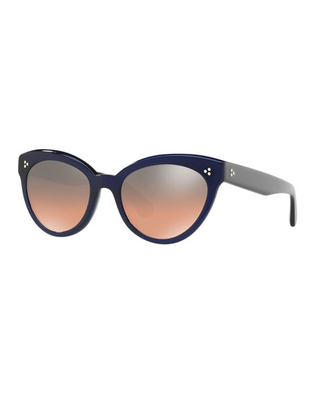 Roella Mirrored Cat-Eye Sunglasses, Blue