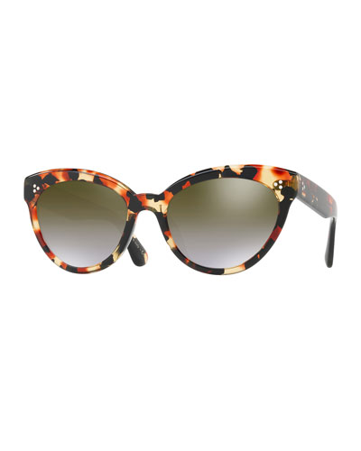 00b94939e1b Oliver Peoples Roella Mirrored Cat-Eye Sunglasses