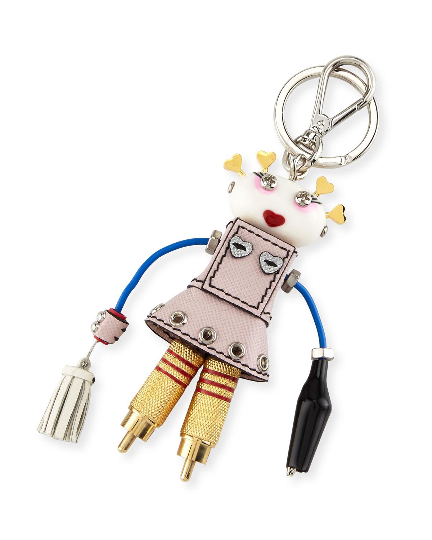 Prada Girl Robot Charm, Red/Light Blue (Fuoco/Astrale)