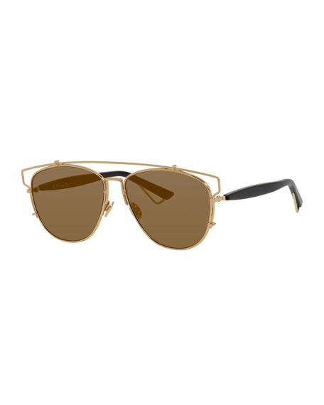 Dior Technologic Cutout Aviator Sunglasses, Golden/Black