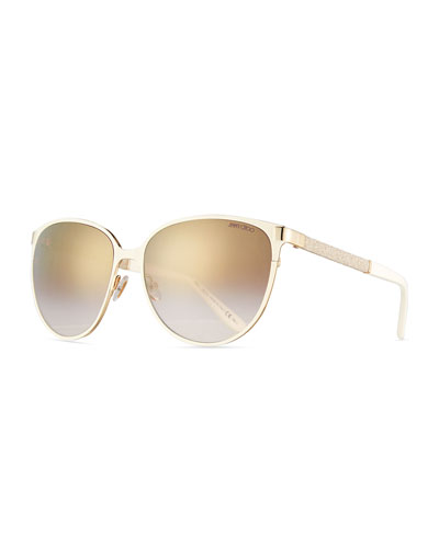 Posie Crystal-Temple Round Sunglasses, Ivory