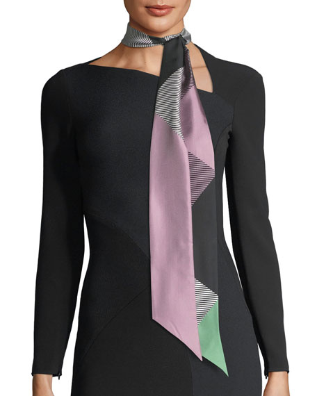 Burberry Double Mega-Check Skinny Silk Scarf, Lilac