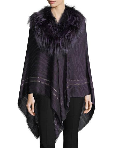Roberto Cavalli Woven Jacquard Poncho w/ Fur Collar