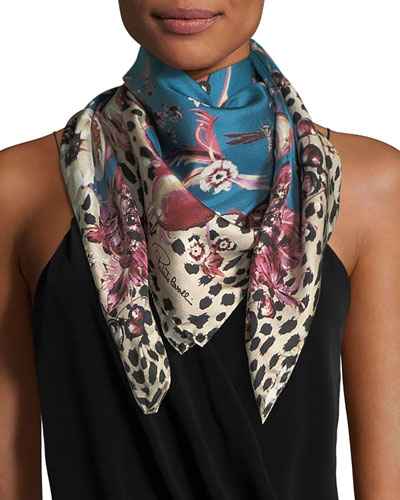 Forbidden Fruit Foulard Silk Twill Scarf, Blue