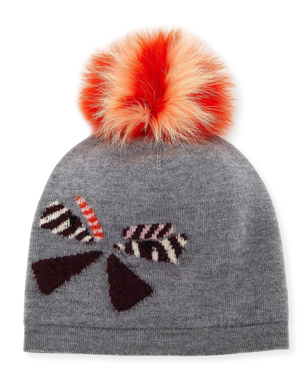 e554eca5c448b Fendi Butterfleye Pompom Knit Wool Beanie