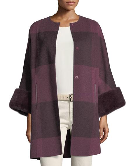 Upper East Belted Cashmere Jacket w/ Fur Trim