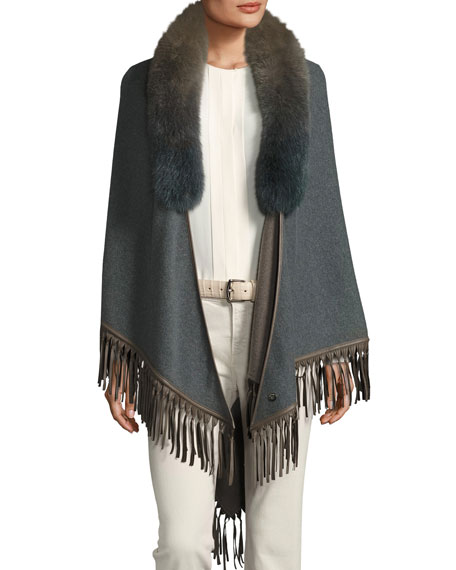 Loro Piana Flamenco Fur-Collar Cape
