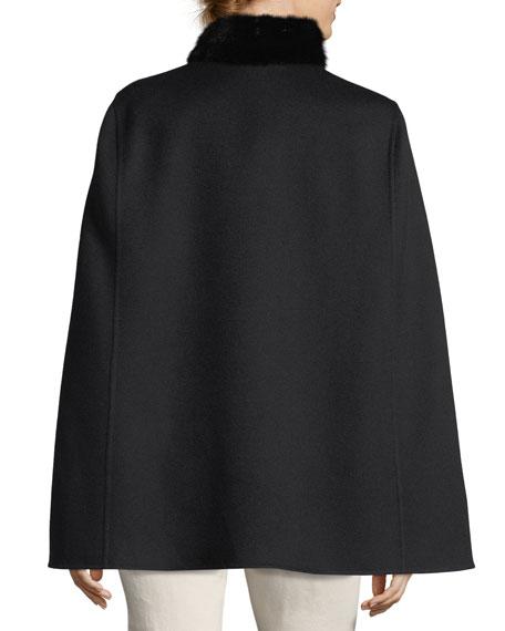 Winter Short Fur-Collar Cape