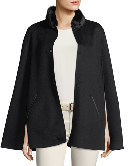 Winter Short Fur-Collar Cape