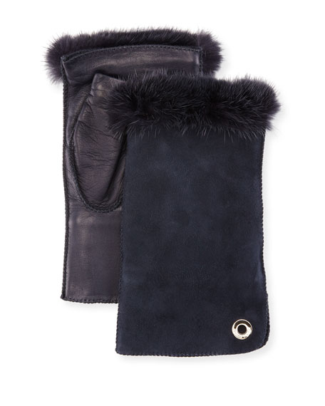 Loro Piana Jacqueline Fingerless Gloves w/ Fur-Trim