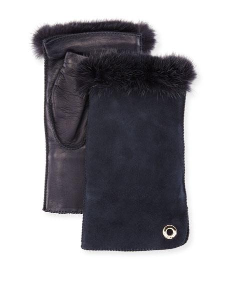 Jacqueline Fingerless Gloves w/ Fur-Trim