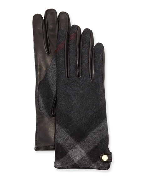 Charlotte Check Cashmere & Leather Gloves, Charcoal