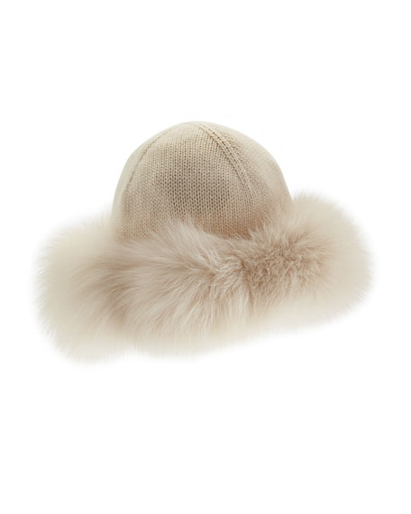Cashmere & Fox-Fur Hat, Tapioca