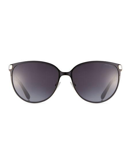 Posie Crystal-Temple Round Sunglasses, Black